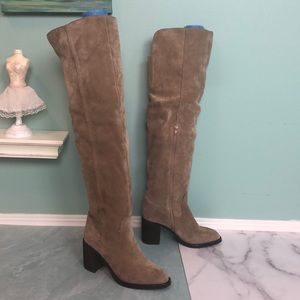 Jeffrey Campbell Taupe Over The Knee Boots 7.5 H3